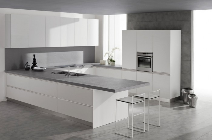 Mica white metro source concept specialist for Modern white and gray kitchen
