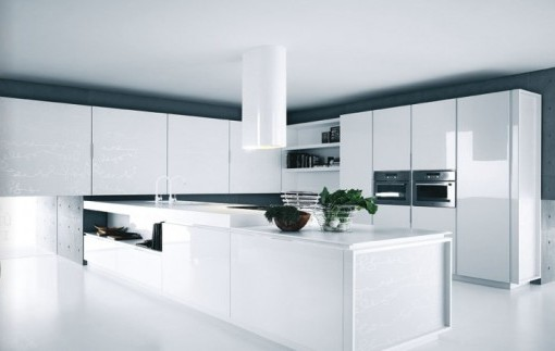 Modern Kitchen White Lacquer Cabinets 2